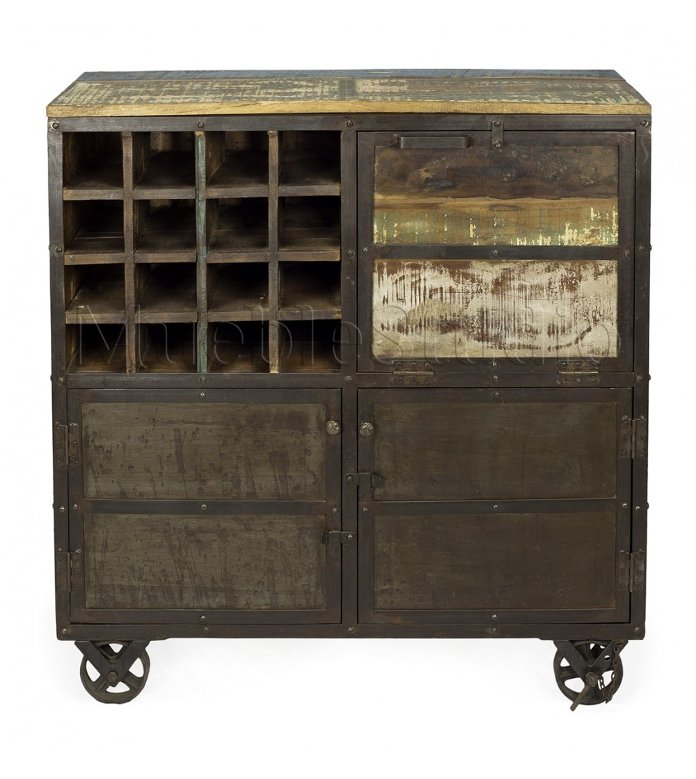 Carro botellero elvas mueblestudio for Muebles diseno industrial vintage