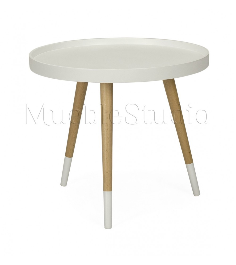 Mesa nordica auxiliar color blanco patas madera mueblestudio for Mesa auxiliar nordica